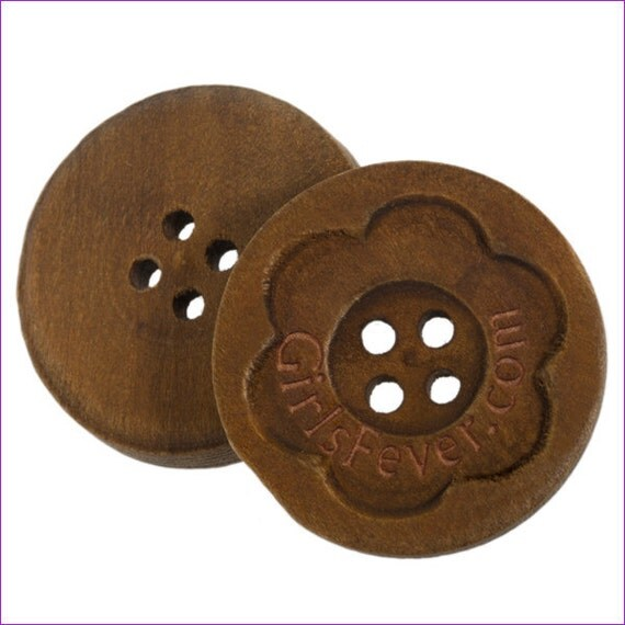 100 pcs Personalized button carved vintage wooden button with your own message or shop name