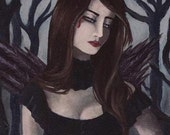 Vampire Art Gothic Art Halloween Art Fantasy Art Print 6x18