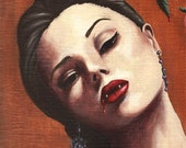 Vampire Rose Portrait Fantasy Art Print Vampyre Halloween 6x18