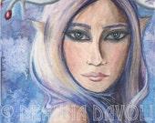Winter Goddess Art Fairy ART Print Fantasy Art Pagan Art Fairy Portrait Elf Freya 8x10