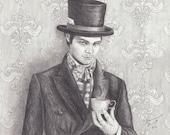 Mad Hatter Art Print 11x14 Alice in Wonderland