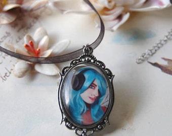 Headphone Fairy CAMEO Fairy Necklace Fairy Pendant Fantasy Art Urban Fairy Hiphop 30x22mm