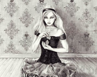 Alice In Wonderland Art Print Fairy Tale Art Alice Art Drink Me Fantasy Art Gothic Art Wall Art 8x10