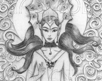 SALE - Elven Sun Goddess 8x10 Fantasy Art Print