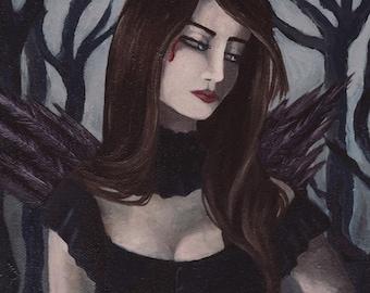 Vampire Art Print Vampyre Gothic Art Halloween Art Victorian Art Fantasy Art Print 3.25x10 Wall Art