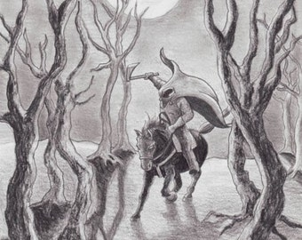 Headless Horseman Art Pumpkin King Art Halloween Art Fantasy ART PRINT Gothic Art 5x7