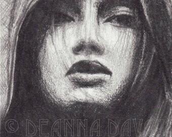 Fantasy ART PRINT 5x7 Gothic Portrait Pagan Wiccan Priestess Goddess