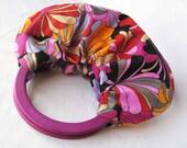 Bright Blooms Hobo Purse - Handmade Handbag with Magenta Wood Handles