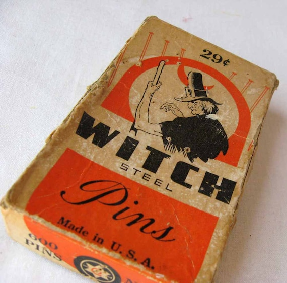 Vintage Witch Steel Pins for Halloween Decor