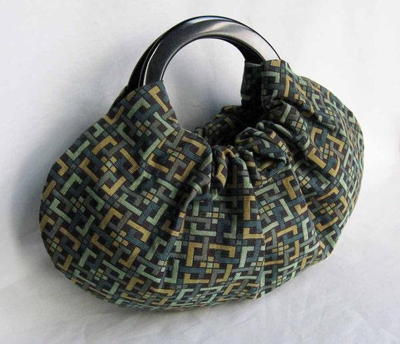 Geometric Knots Upholstery Remnant Handbag with Black Handles Medium Retro Purse - Ready to Ship