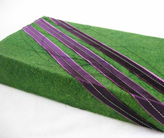 Paperback Book Cover - Classy Cover for Your Trashy Novel - Green Wool Felt Stripe - Ready to Ship