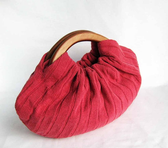 Reclaimed Red Sweater Handbag with Wood Handles - Ready to Ship