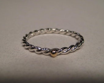 Twisted Sterling Silver Stacking Ring ... with a 14 kt Gold Accent ... Made to Order in your size ..