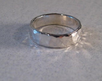 Medium Hand Hammered Band ... Sterling Silver