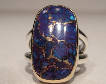 Purple and Blue Aztec Turquoise ... Sterling Silver and 14 kt Gold  RIng ... Size 8 ....