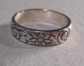 Swirl Flower ... Sterling Silver ... Ring