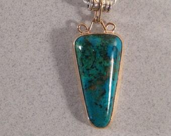 Azurite Malacite Sterling Silver and Goldfill  Pendant  ... E30