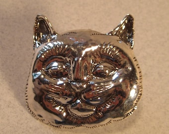 Sterling Silver Cat Pin ... Repousse