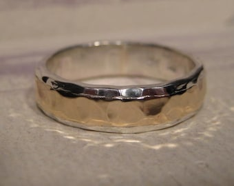 Precious Bond 14 kt Gold over Sterling Silver .. Medium Hand Hammered * PREMIUM * Band ...  ... made to order in your size...