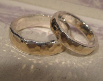 Precious Bond ... 14 kt Gold over Sterling Silver ....Narrow and Heavy Hand Hammered Band ... SET ......... made to order in your size...