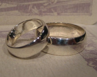 Wedding Set  ... set of 2 ... Sterling Silver Gently Domed .. one 8 mm wide one 6 mm Wide Band .... made to order in your sizes .....