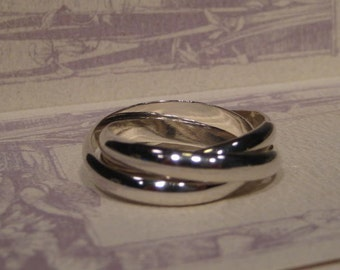 Built Guy Tough... Heavy Duty ... Guy Stuff ...Rolling  Ring ...  Sterling Silver ... Each Band is 4 mm Wide x 1.5 mm Thick