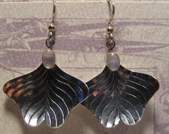 Ginkgo Earrings  ...... Moonstone  ... Sterling Silver ...  E85