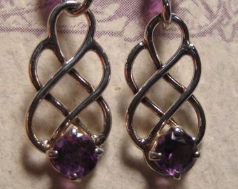 Amethyst Earrings ... Sterling Silver  ....   E142