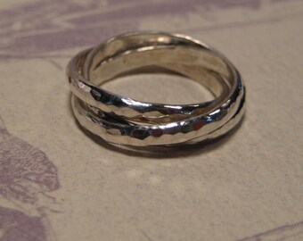 Hand Hammered 3 band Rolling Ring  ..... Sterling Silver ... each band is 2.5 mm Wide