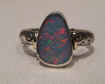 Beautiful Australian Opal Ring ... Sterling Silver  ... Size  6.75   ... e237