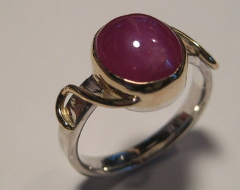 Beautiful Ruby Ring .... Sterling Silver and 14 kt Gold ... size 7 3/4