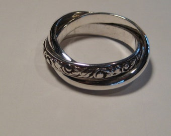 New Leaf and Plain Band... 3 band  Rolling Ring ... Sterling Silver ... CooL ...