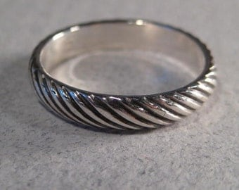 Band Ring... - Diagonal- Heavy Band.. Sterling Silver