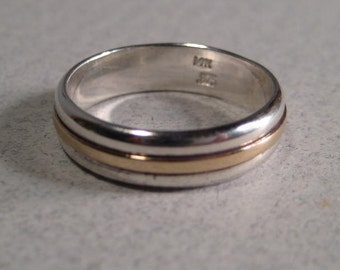 Sterling Silver and 14 kt GOLD Band ... 5 mm wide ...
