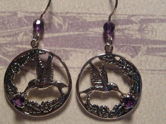 Hummingbird Sterling Silver earrings  ... with Amethyst gemstones ........E89