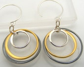 As seen on AboutFace Magazine Triple Circle Earrings Sterling Silver