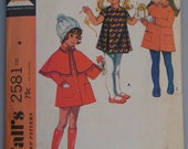 Darling Little Girl's Coat, Cape,and Dress Pattern, McCall's 2581, Sz 4