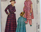 Darling Vintage Girl's Robe Pattern, McCalls 9598, Size 4