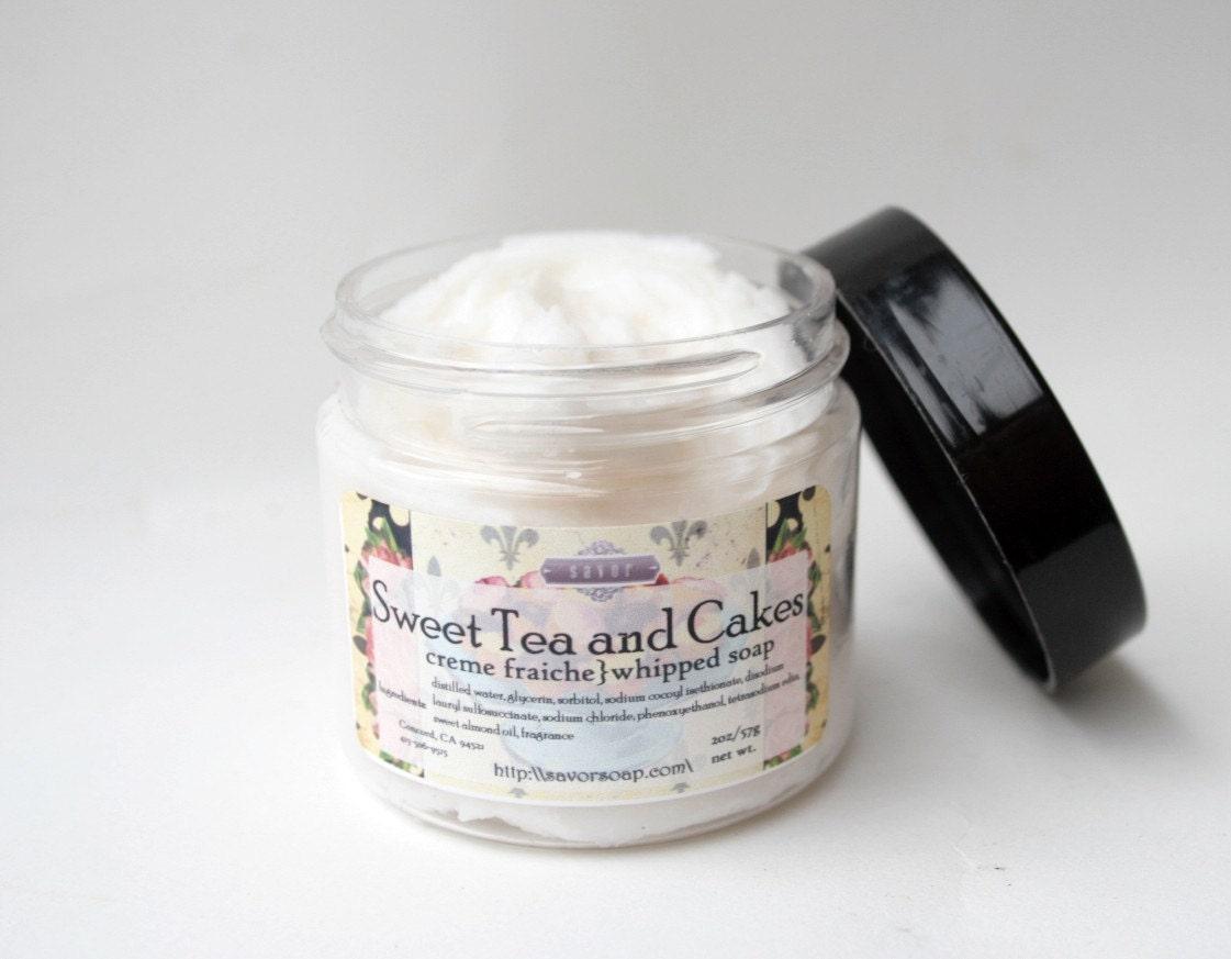 whipped soap sweet tea and cakes 2 oz mini creme fraiche vegan. Black Bedroom Furniture Sets. Home Design Ideas