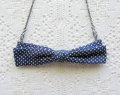 bow tie necklace - navy blue with polka dots