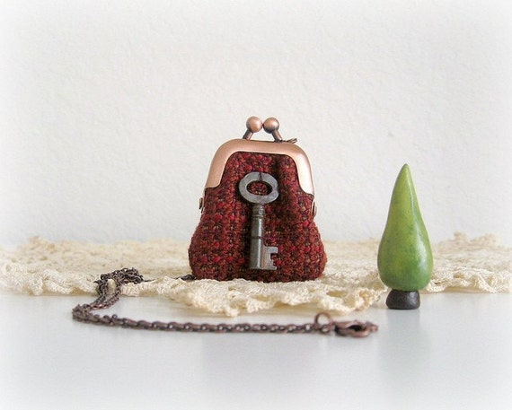CHRISTMAS SALE - wee purse necklace in deep berry