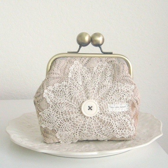 you are loved doily clutch
