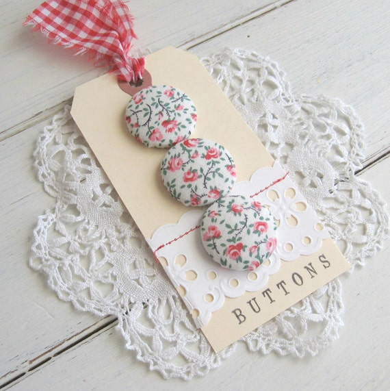 vintage fabric buttons - floral red