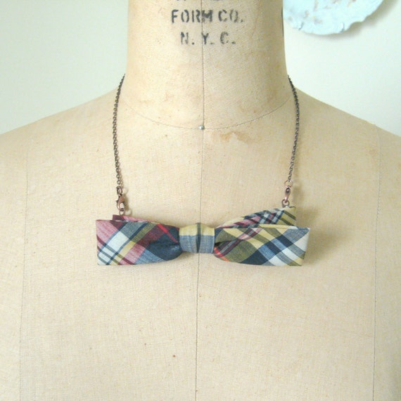 SALE - bow tie necklace - navy blue