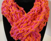 Hot Pink and Bold Orange Cotton Skinny Scarf