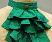 Elegant steampunk Victorian inspired jade green silk jabot