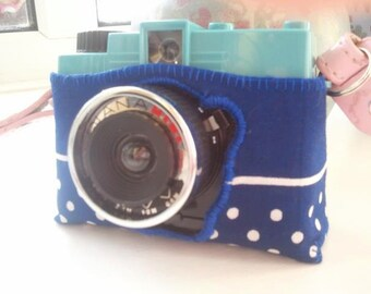 Blue Dotty Cotton Diana Mini Camera Case