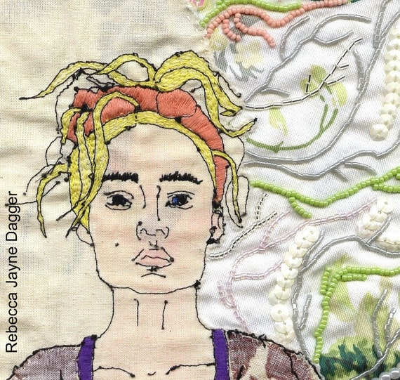 hand stitched blonde lady embroidery ready to frame