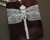 Dragonfly Laser Etched Shell Pendant necklace Free U S A Shipping