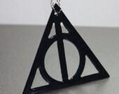 Harry Potter Deathly Hallows Black Enamel Symbol  Pendant necklace Free U S A Shipping